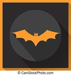 Bat icon with long shadow.