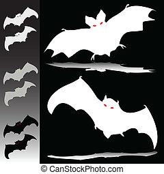 bat illustration silhouettes