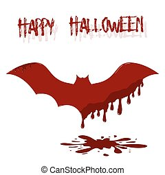 Bat illustration with dripping blood. Template of Happy Halloween card.