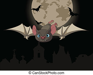 Bat in flight - Illustration of Cute Cartoon Halloween bat...