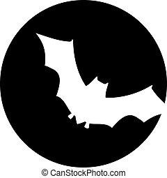Bat in front of moon