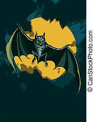 Bat in the night sky