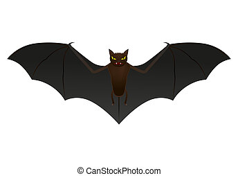 Bat isolated on white background, vector