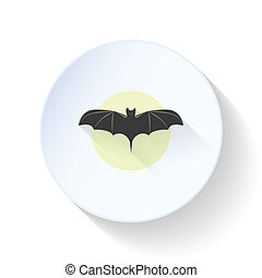 Bat on moon background flat icon