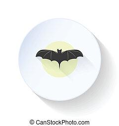 Bat on moon background flat icon
