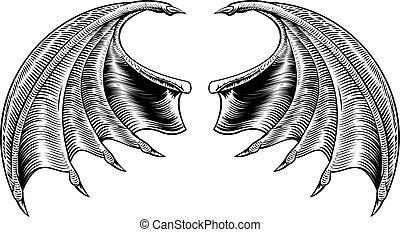 Bat or Dragon Wings - A demon dragon or vampire bat wings...