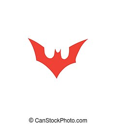 Bat Red Icon On White Background. Red Flat Style Vector Illustration.