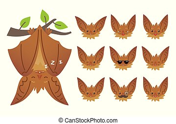 Bat sleeping, hanging upside down on branch. Animal emoticon set. Illustration of bat-eared brown creature with closed wings in flat style. Emotional heads of cute Halloween bat vampire. Emoji. Vector