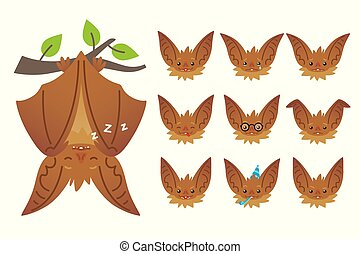 Bat sleeping, hanging upside down on branch. Animal emoticon set. Illustration of bat-eared brown creature with closed wings in flat style. Emotional heads of cute Halloween bat vampire. Emoji.