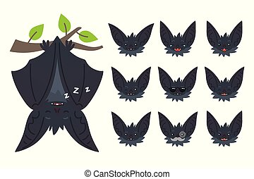 Bat sleeping, hanging upside down on branch. Animal emoticon set. Illustration of bat-eared grey creature with closed wings in flat style. Emotional heads of cute Halloween bat vampire. Emoji. Vector.