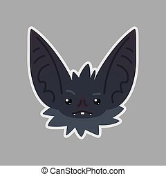 Bat sticker. Emoji. Vector illustration of cute Halloween bat vampire shows sad emotion. Weary.