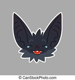 Bat sticker. Emoji. Vector illustration of cute Halloween bat vampire shows emotion. Joke. Emoticon icon with sublayer. Bat-eared grey creatures snout. Print design. Badge. Laugh out loud.