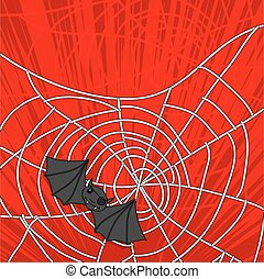 Bat Stuck in Halloween Cobweb