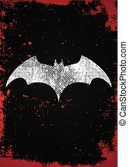 Bat symbol. Bat poster in grunge style