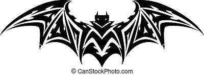 Bat tattoo, vintage engraving.