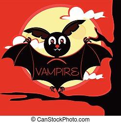 Bat vampire sitting on branch