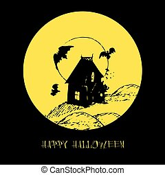 Bat vector illustration with Happy Halloween lettering for party invitation card, poster. All Saints Eve background.