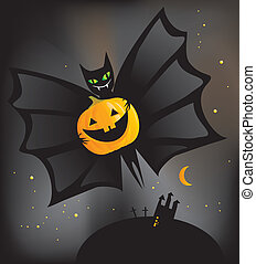 bat with a Halloween pumpkin