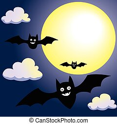 Bat with Moon and Clouds on Night Sky-Vector Illustration