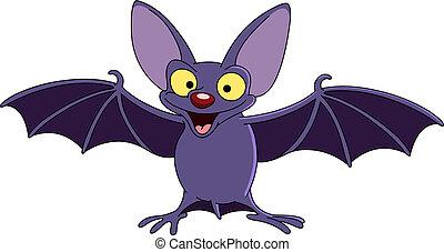 Bat with spread wings - Cartoon bat spreading his wings