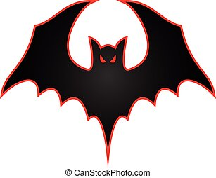Bat with wings spread logo illustration - Sharp vector bat...