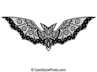 Bat zentangle