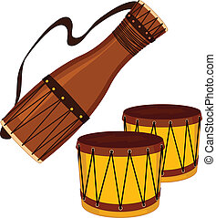 Realistic vector illustration of a bata drum and set of bongo drums, isolated on white