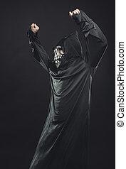 bata, anteojos, negro, esqueleto, bailando