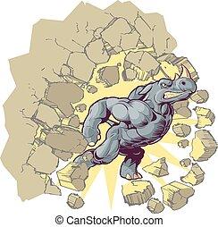bata, através, parede, rinoceronte, mascote