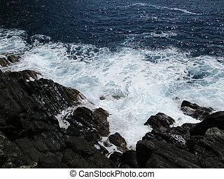 bata, b, ondas, pedras