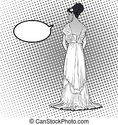 bata, bosquejo, dress., joven, largo, espalda, back., tarde, model., elegante, abierto, vista