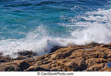 bata, cima, ondas, pedras