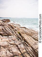 bata, costa, ondas, pedras