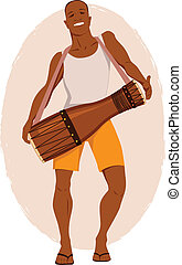 Young black man playing on an african drum, vector illustration