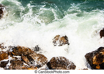 bata, enorme, ondas, pedras