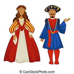 bata, estilo, antiguo, túnica, moda, pareja, renacimiento, pelota, polainas