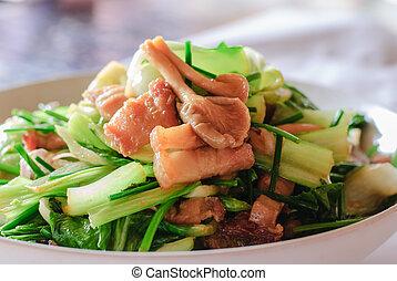 bata frito, de, chianease, col rizada, vegetales, con, cerdo