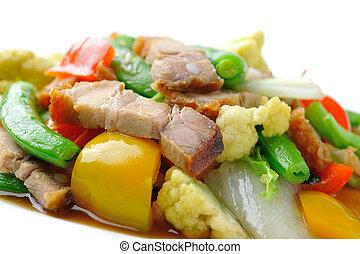 bata frito, vegetales