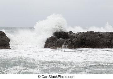 bata, mar, ondas, tempestuoso, pedras