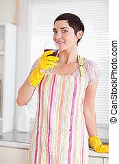 bata, mujer, limpieza, vidrio