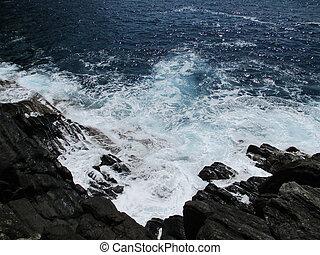 bata, ondas, d, pedras