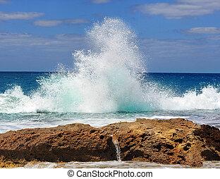 bata, ondas, mar, contra, pedras