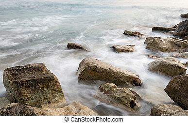 bata, ondas, mar, pedras