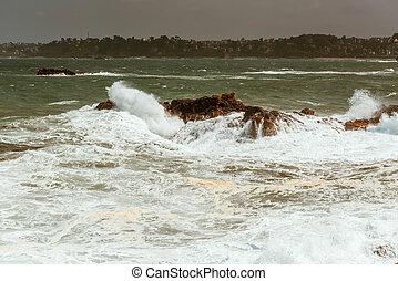 bata, ondas, pedras, bretagne, frança