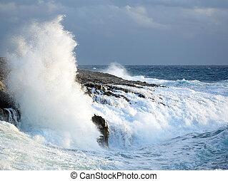 bata, ondas, pedras