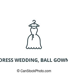 bata, pelota, contorno, plano, señal, ilustración, símbolo, concepto, boda, vector., icono, línea, vestido