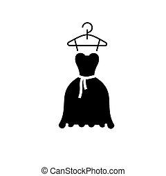 bata, pelota, ilustración, -, aislado, señal, vector, fondo negro, boda, icono, vestido