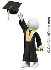 bata, vestido, gorra, graduación, estudiante, día, 3d