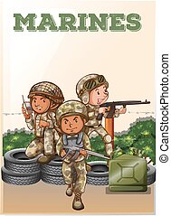 bataille, champ, soldats marine, fusil, tenue