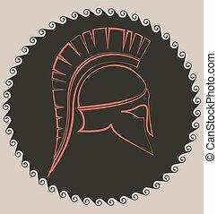 bataille, grec, ancien, casque